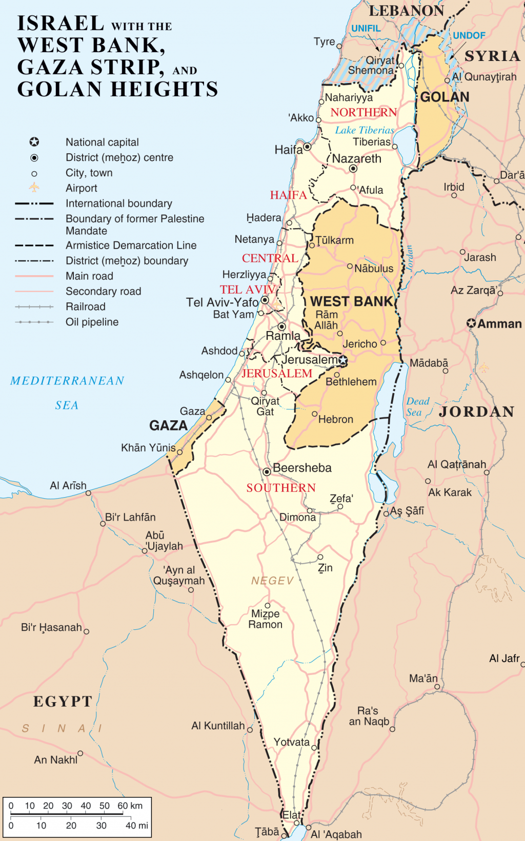 Map of Israel, the Palestinian territories (West Bank and Gaza Strip), the