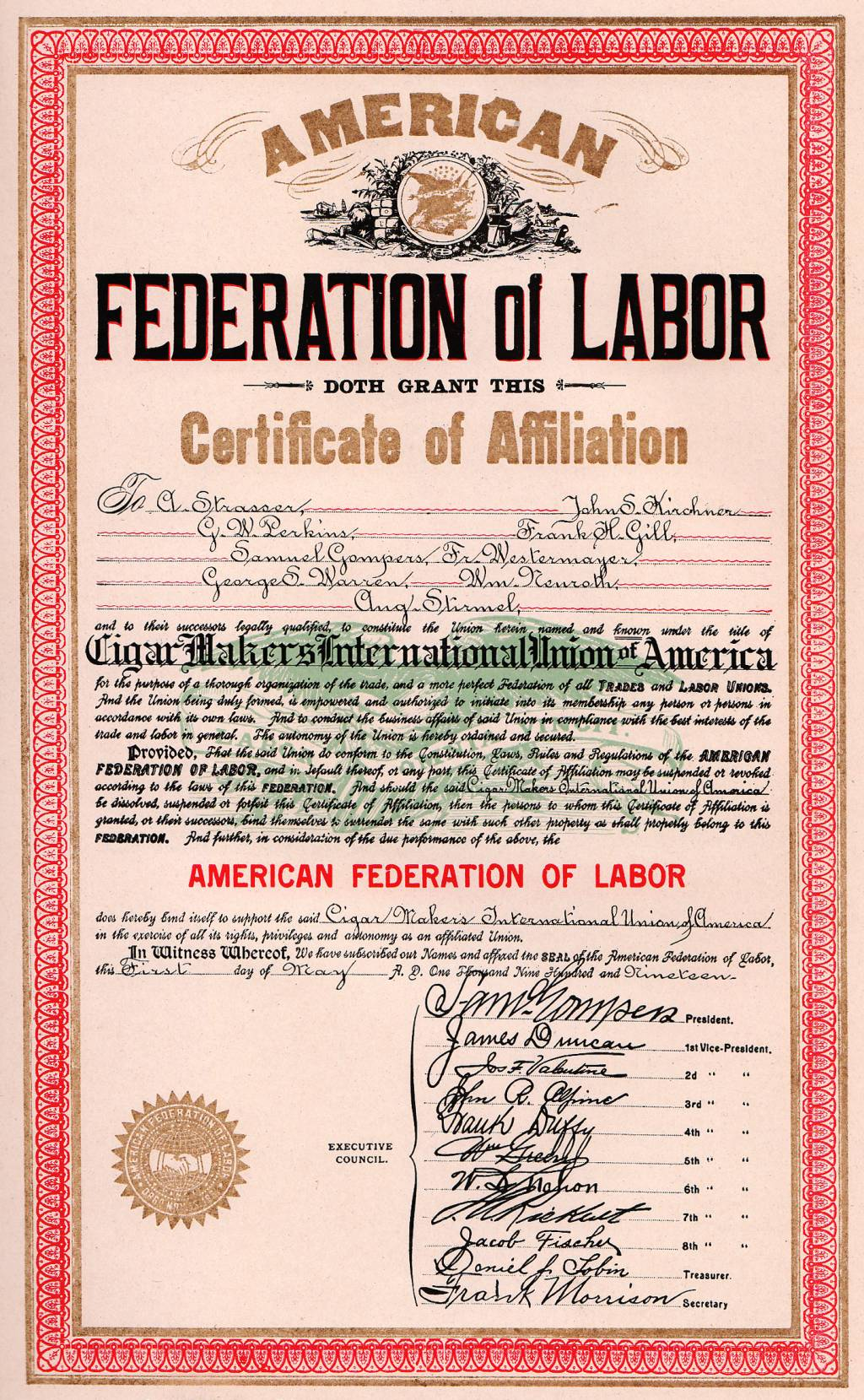 how successful was organized labor in improving the position of english american federation of labor charter for the cigar makers international union of america