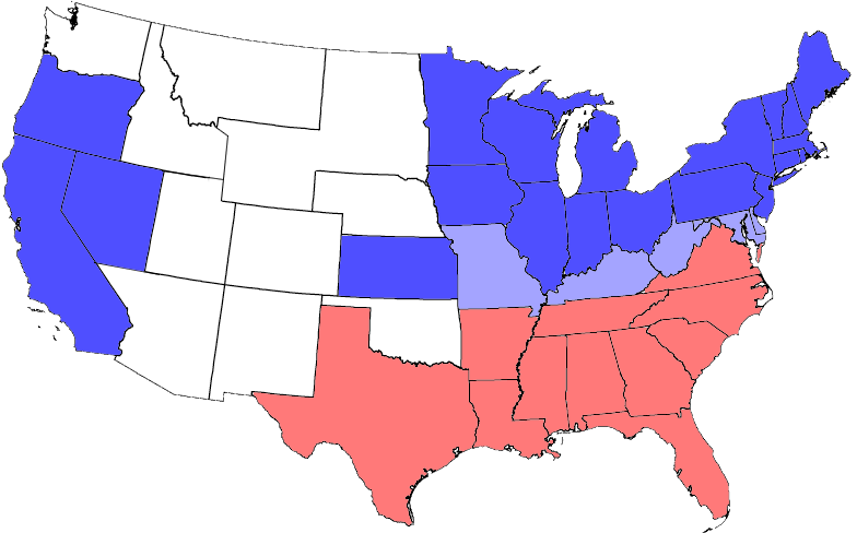 map of the division of the states during the civil war blue represents union states