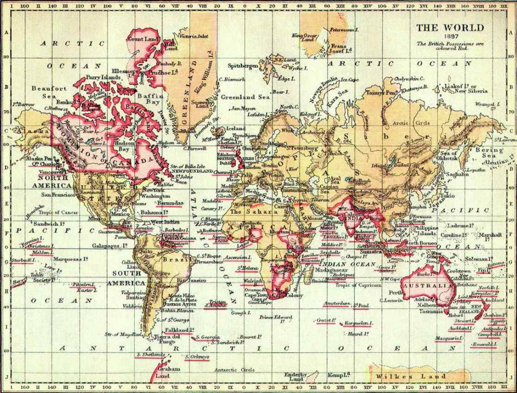the relationship between the british empire and the british english the world in 1897