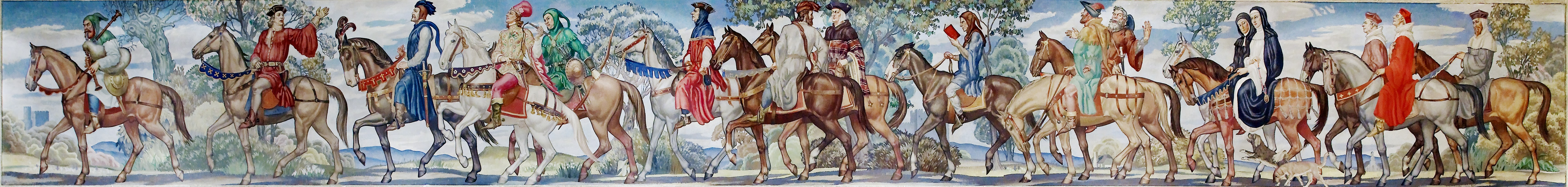 clerk squire contrast the canterbury tales writework ezra winter canterbury tales mural 1939 library of congress john adams building