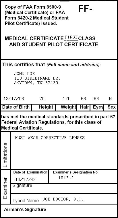 medical class third aviation flight certificate faa sample 3rd airman physical second writework debate journal certificat