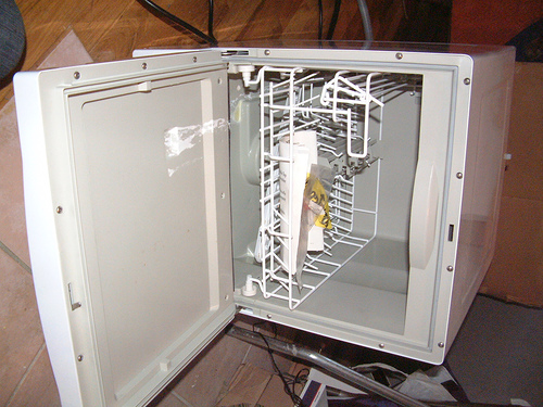 Working as a dishwasher in a