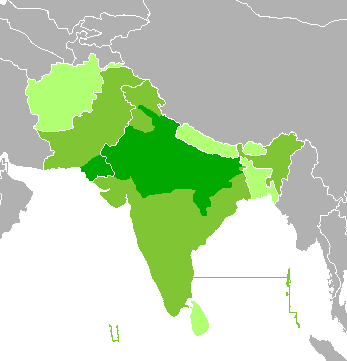 Language conflict writework english map of hindi and urdu speaking world dark green hindustani speaking gumiabroncs Gallery