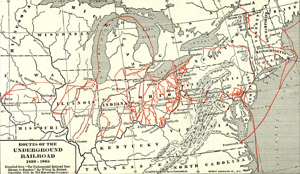 English Whole Map Of The Underground Railroad Nederlands Een Kaart Van Routes Van