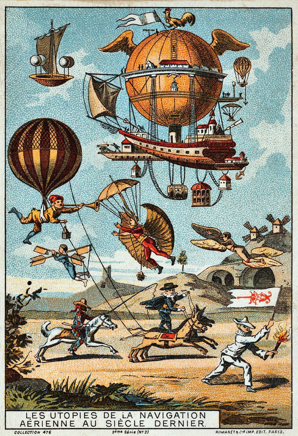 the history of the term utopia and dystopia reference to an utopian flying machines 1890 1900 chromolithograph trading card